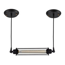 Ohr Lighting® - Ohr Lighting® Edison Caged Horizontal Pendant Light, Matte Black/Iron - Features