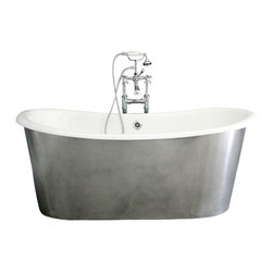 """Penhaglion - The Bardsey73 - 73"""" Cast Iron French Bateau Tub Package from Penhaglion - Go for drama in your master bathroom with this stunning, French style stand-alone tub. It features a hand-burnished aluminum exterior which will naturally darken over time, giving it an antiqued feel. The smooth cast iron enamel interior is a dream to sink into, and comes in creamy white. The faucet fixtures and tub drain bring Victorian charm to the piece and are all finished in gleaming chrome."""