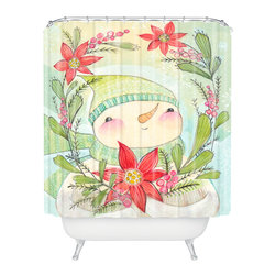 DENY Designs - DENY Designs Cori Dantini Snow Guy Shower Curtain - Who says bathrooms can't be fun? To get the most bang for your buck, start with an artistic, inventive shower curtain. We've got endless options that will really make your bathroom pop. Heck, your guests may start spending a little extra time in there because of it!