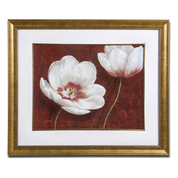 White And Burgundy Floral Framed Wall Art - *Print is accented by a white mat and surrounded by a frame and fillet finished in gold leaf with a brown and black mottled top layer.
