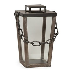IMAX CORPORATION - Leonard Industrial Lantern - Small - Modern lines and a simple chain handle give the Leonard Industrial lantern an austere presence, adding a subtle ambiance when lit. Find home furnishings, decor, and accessories from Posh Urban Furnishings. Beautiful, stylish furniture and decor that will brighten your home instantly. Shop modern, traditional, vintage, and world designs.