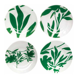 Mangold Glass Plates - These lovely glass plates come as a set of four in four different designs. Lovely for serving dinner, dessert, or for hanging on the wall.