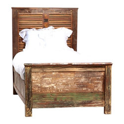Vintage Shabby Chic Furniture - A wonderful story. A green story. Restored and available for a new, eco-friendly generation. Inspired by the hand tools used in ancient art of printing fabrics and by centuries-old hand carved panels adorning the inside and facades of aged buildings. The perfect piece of handmade artwork to incorporate into any bedroom.