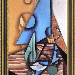 """Art MegaMart - Juan Gris Bottle and Glass on a Table - 16"""" x 24"""" Framed Premium Canvas Print - 16"""" x 24"""" Juan Gris Bottle and Glass on a Table framed premium canvas print reproduced to meet museum quality standards. Our Museum quality canvas prints are produced using high-precision print technology for a more accurate reproduction printed on high quality canvas with fade-resistant, archival inks. Our progressive business model allows us to offer works of art to you at the best wholesale pricing, significantly less than art gallery prices, affordable to all. This artwork is hand stretched onto wooden stretcher bars, then mounted into our 3 3/4"""" wide gold finish frame with black panel by one of our expert framers. Our framed canvas print comes with hardware, ready to hang on your wall.  We present a comprehensive collection of exceptional canvas art reproductions by  Juan Gris ."""