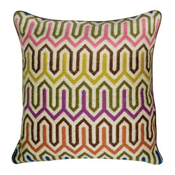 "Jonathan Adler - Jonathan Adler Chevron Multi Color Bargello Pillow - part artsy the other part urban, Jonathan Adler marries the styles in this Bargello pillow. Toss a sense of modernity to a sofa or bed as the throw pillow's hand-embroidered long stitches form an elaborate and colorful modified chevron pattern. 20"" x 20""; Multi-color with notes of brown, blue, yellow, green, grey, orange and plum; Hand embroidered; Soft velvet piping detail and reverse side; Hidden zipper; Feather/down insert included; Dry clean only"