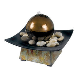 """Kenroy Home - Kenroy Home 50235 9"""" Square Table Fountain - Traditional / Classic 9"""" Square Table Fountain with Polished River Stones and Gazing Ball from the Sphere CollectionTake a few minutes to relax and meditate on this cool slate, tabletop fountain.  Water bubbles over a gazing ball centered in a dark pebble filled tray.  Sophisticated and artful, Sphere brings beauty to home or office.Features:"""