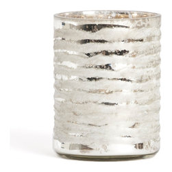"""Saro - Glass Candle Holder, Silver - 5 x 3"""" - Illuminate the table and make your next soiree sparkle."""