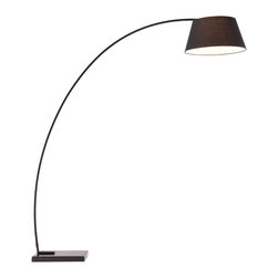 Zuo - Vortex Floor Lamp - The Vortex Floor Lamp has an elongated arch that delicately reaches out to light your space.  The curvature and height of the arch work well with larger sofas and lounge chairs. The black fabric shade keeps the design casual, but still modern with the black finished metal and the black marble base.  Use the Vortex Floor Lamp for overhead lighting of your space while creating a cozy atmosphere.  This modern floor lamp works great in living rooms, keeping rooms, bedrooms and the home office.