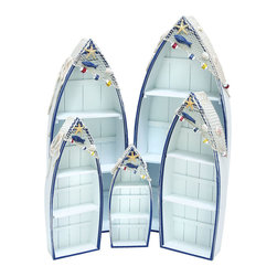 Benzara - Wooden Contemporary Boat in White and Blue for Storage - Set of 5 - Improve storage space in interior settings, while adding a chic touch to home decor with this Wooden Boat - Set of 5. It sports a modern design that is also high on functionality. Flaunting a boat shape, this boat set is an excellent choice of accessory for the home if you want to add a more appealing look to interiors. Designed with fine detail work, this boat set is crafted to make storage convenient, thanks to the several shelves it includes, making it ideal for holding games, books and other items. This boat set is crafted from high quality wood, ensuring durability. It has a robust construction which makes it capable of withstanding long years of use. Crafted in China, this attractive boat set features a blue and white color combination which adds a pleasant touch to its appearance and makes it perfect for different settings.