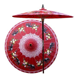 Oriental Unlimted - Asian Elephants Patio Umbrella in Dragon Red - Choose Base: NoneHandcrafted and hand-painted by master artisans. 100% Waterproof and extremely durable. Umbrella shade can be set at 2 different heights, 1 for maximum shade coverage and the other for a better view of the shade. An optional base, which secures the umbrella rod and shade against strong winds and rain. Patio umbrella rod and base is constructed of stained oak hardwood for a rich look and durable design. Umbrella shade is made of oil-treated cotton. Minimal assembly required. Canopy: 76 in. D x 84 in. HThis magnificent patio umbrella highlights a circle of Asian elephants, which symbolize strength, power and wisdom. Lovingly hand-made in Thailand, where the elephant is the national symbol, this umbrella is the perfect way to enhance any outdoor area.