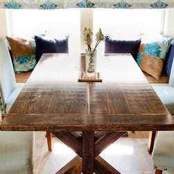 "Trestles Tables, Trestle Benches, Trestle Buffet Tables, and more!!! - One of our many trestle table options shown here!  This beautiful ""Corinth"" table is shown placed in a breakfast nook.  You may also choose to pair our trestle table with a standard bench, trestle bench, chairs, or a combination of both.  This table can also work in an office and be slightly modified to be used as a desk.  Our trestle tables come in 3 variations of widths:"
