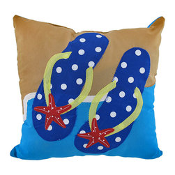 Zeckos - Flip Flops On The Beach Mini Tropical Ocean Throw Pillow 10 In - This adorable pint-sized pillow features a pair of cute polka-dotted flip flops lying in the sand before the great blue ocean. The pillow's stitched patterns have the warm appearance of home-style craftwork. The 100% polyester pillow measures a square 10 inches with a 5 inch depth of polyester filling. This cute pillow makes a lively tropical home accent that will add a splash of color to any tropically themed room.