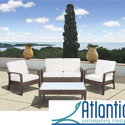 Atlantic - Mykonos Deluxe Brown Conversation 4 Piece Set - Sleek and contemporary,this gorgeous outdoor conversation set is constructed with intricately woven wicker,weather-proof cushions,and a deep-brown finish. Complete with two chairs,a sofa,and table,this set has all you need to furnish your patio.