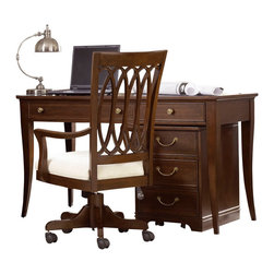 American Drew - American Drew Cherry Grove NG Home Office Desk in Mid Tone Brown - Cherry Grove New Generation line promises the same timeless quality and appeal with a full line of dining room, bedroom, home office, entertainment and occasional furniture. The line incorporates many elegant curves and graceful movement, and is updated with today's finishes, functionality and style. The inviting mid tone brown finish makes the cherry veneers pop on each piece, along with custom designed hardware. This line takes advantage of vertical space with higher case heights, and maximizes the utility of small spaces with hinged drop leaves on servers and tables. In combination, the collection takes functionality to a lifestyle level and allows urban or scaled-down living spaces to become entertainment areas, making small rooms work like big rooms. The New Generation of Cherry Grove is about honoring tradition while staying on trend.