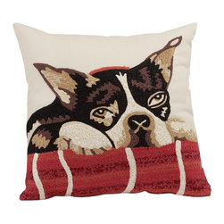 "Crewel Fabric World - Dog Crewel Embroidered Pillow 12x12 Inches - Careful crewel embroidery captures the disarming charm of these three puppies in soft, painterly images. Design: Boston Terrier. * 12"" square. Pure cotton. Reverses to a solid color. Polyester fill. Spot clean. Imported."
