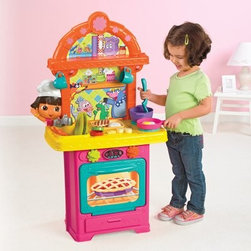 Fisher-Price Dora Cooking Play Kitchen - Designed with young chefs in mind the Fisher Price Dora Cooking Play Kitchen includes everything your child needs to whip up exciting dishes. This interactive play kitchen includes a 20-piece accessory set with pots pans plates cups utensils and play food. Your child is sure to be delighted by the realistic sizzling sounds the stovetop makes when pans are placed on it as well as the running water noise from the faucet along with encouraging words from Dora herself. About Fisher-PriceAs the most trusted name in quality toys Fisher-Price has been helping to make childhood special for generations of kids. While they're still loved for their classics their employees' talent energy and ideas have helped them keep pace with the interests and needs of today's families. Now they add innovative learning toys toys based on popular preschool characters award-winning baby gear and numerous licensed children's products to the list of Fisher-Price favorites.