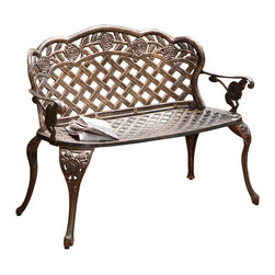 Great Deal Furniture - Santa Fe Cast Aluminum Garden Bench - The Santa Fe bench is a great looking outdoor bench made from Cast Aluminum to last forever.  Finished in an antique copper look with intricate detail in the design. Strong base, very sturdy and comfortable.