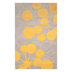 jefdesigns - Organic Modern Rug - Bubble In Gray, 5'x8' - On the bubble. This rug's modern design is like artwork for your floor. It has a contemporary palette that plays nicely with your furnishings, too. It's handtufted of pure wool with twisted details for plenty of visual interest.