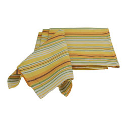 Xia Home Fashions - Rooster Set Of 4 21 By 21 Inch Napkin - Bright country rooster in yellow striped edge pattern. Bring a little country into your kitchen!