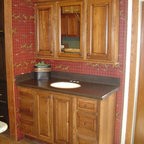 """Schrock - Showroom displays - Cabinetry is Schrock Palmer, """"Auburn"""" on Hickory"""