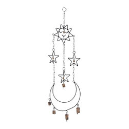 High Quality Metal Wind Chime Hanger - Fill your home with pleasant sounds from this wonderfully crafted chime. The chime setup consists of attractive components that are artistically designed and held delicately by a metal chain. The chime with celestial objects looks attractive. This beautifully crafted wind chime set is the perfect choice to produce a relaxing effect in your living space.  The metal ring on top enables the chime to be hung conveniently from any location. The cute images of sun, moon, and stars are placed at different levels to produce the interesting and relaxing sounds typical of wind chimes. This delightful chime is made of high quality metal that ensures the endurance to last for a long time. It is a perfect gift for friends who believe in the wind chime as a symbol of luck.. It comes with a dimension: