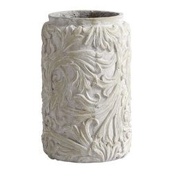 Cyan Design - Cyan Design Crestline Small Traditional Planter X-01750 - A traditional cylindrical shape and simple inset lip are the perfect compliment to the ornate pattern of this Cyan Design planter. This traditional planter from the Crestline Collection features a beautiful flourish pattern with a complimentary gray-toned Weathered Cast Stone finish.