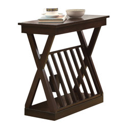 Monarch Specialties - Monarch Specialties 3381 Accent Side Table in Cappuccino - Bring warmth to any room in your home with this beautiful transitional thick cappuccino veneer accent table featuring a lattice magazine rack for ample storage.