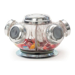 "Go Home Ltd - Vintage Revolving Candy Jars by Go Home - A little nostalgia is welcome in any kitchen or bar area. Fill the jars with your favorite nibbles. Retro charm can surely compliment any decor style. (GH) 16"" diameter x 9.5"" high"
