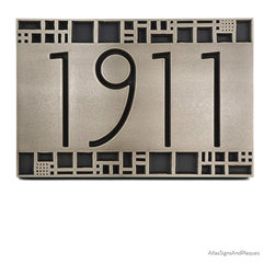 "The Batchelder Tile Address Plaque 12"" x 8"" in Recessed Silver Nickel - Now you can bring the look of Ernest Batchelder to your Arts and Crafts building with The Batchelder Tile Address Plaque. Although, of course, not designed by Ernest Batchelder, his Arts and Crafts tiles are the inspiration for the design of this address numbers plaque. Tiles designed by Batchelder feature an array of seemingly random shapes ranging from animals to geometric squares to abstract images. This sign, dedicated in name to Ernest Batchelder, shares many similarities with the Willow American Craftsman sign. Both are excellent choices for bungalows, craftsman, arts and crafts, and brick and mortar homes."