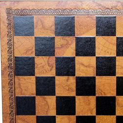Ital Fama - Map Pressed Leather Chess Board - 1.3 Inch Square Multicolor - 201MAP - Shop for Chess and Strategy from Hayneedle.com! The Map Pressed Leather Chess Board - 1.3-inch Squares brings a bit of old world charm to your favorite game. The soft and supple leather board looks and feels great with black squares alternating with an old world map surrounded by a floral border. Ideal for pieces with 1-inch base diameter.
