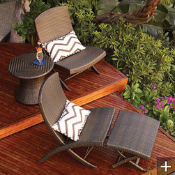 Frontgate Balencia Folding Chair - These folding chairs and foot stools are much nicer choices than the traditional beach folding chairs.