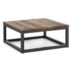Zuo era - Reclaimed wood coffee table Zuo Era Civic Center Square Coffee Table Distressed - Here's a coffee table with charm and interest, sure to become the centerpiece of your living room. Its square top is made from elm-wood planks fused together creating a slightly distressed look, all atop an antiqued metal base.