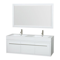 """Wyndham Collection - Axa 60"""" DBL Bathroom Vanity in White, Acrylic Resin Top, Int. Sinks, 58"""" Mirror - The bold, ultra-modern and visually stunning design of the Axa wall-hung vanity makes a powerful statement while incorporating generous counter space and storage for bath items. The one-of-a-kind styling ensures a high-end look at a very reasonable price and brings an element of contemporary sophistication to a fabulous bathroom remodel. Satin Chrome accents finish the look - It's quite remarkable, and all the more so in person."""