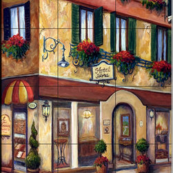 The Tile Mural Store (USA) - Tile Mural - Streets Of Venice I - Kitchen Backsplash Ideas - This beautiful artwork by Joanne Margosian has been digitally reproduced for tiles and depicts a Venetian street scene.  This street scene tile mural would be perfect as part of your kitchen backsplash tile project or your tub and shower surround bathroom tile project. Street scenes images on tiles add a unique element to your tiling project and are a great kitchen backsplash idea. Use a street scene tile mural, perhaps a Tuscan theme tile mural, for a wall tile project in any room in your home where you want to add interesting wall tile.
