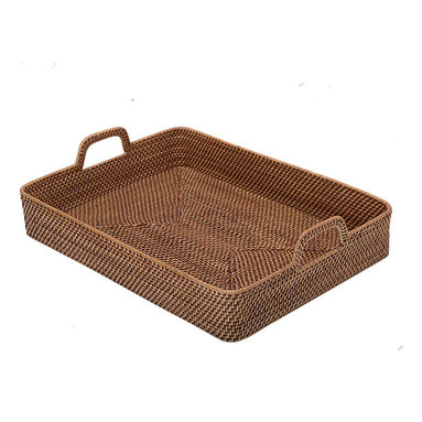 Kouboo - Rectangular High-Walled Serving Tray in Honey-Brown Rattan - This rectangular high-walled rattan serving tray holds a bounty of vegetables and fruits, can be used to carry dinner to a friend, or even offers itself up as a unique display piece in a living room or bedroom.