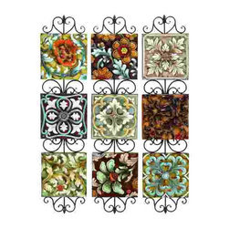 UMA - Extra Large Floral Dreams Nine-Panel Metal Wall Sculpture - Nine separate squares are linked together with intricate scrollwork; floral raised relief on these panels adds romantic feel and texture to any wall space