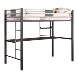 Dorel Home Products - 78.38 in. Metal Loft Bed - NOTE: ivgStores DOES NOT offer assembly on loft beds or bunk beds. Includes built-in desk underneath. Twin mattress fits atop. Built-in ladder and upper guardrails. Weight capacity: 225 lbs.. Warranty: One year. Durable and sturdy metal frame. Powder coated black and silver finish. 78.38 in. L x 42 in. W x 67.88 in. H (110.7 lbs.). Assembly Instructions. Bunk Bed Warning Please read before purchase.This trendy loft bed is an ideal solution for bedrooms that are short on space.