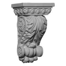 """Ekena Millwork - 5""""W x 3 5/8""""D x 8 3/8""""H Attica Corbel - 5""""W x 3 5/8""""D x 8 3/8""""H Attica Corbel. These corbels are truly unique in design and function. Primarily used in decorative applications urethane corbels can make a dramatic difference in kitchens, bathrooms, entryways, fireplace surrounds, and more. This material is also perfect for exterior applications. It will not rot or crack, and is impervious to insect manifestations. It comes to you factory primed and ready for your paint, faux finish, gel stain, marbleizing and more. With these corbels, you are only limited by your imagination."""