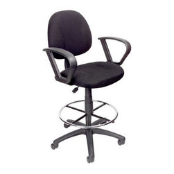 """BOSS Chair - Black Task Chair w Loop Arm and Foot Ring - Retire your old desk chair and welcome this sculpted one instead. The contoured back and seat cushions help to relieve aches and pains when working. Modern, black fabric cleans easily. Rounded and open armrests add interest. Footrest provides further support. Contoured back and seat help to relieve back-strain. Pneumatic gas lift seat height adjustment. Large 27"""" nylon base for greater stability. Hoode double wheel casters. Strong 20"""" diameter chrome foot. Loop arms four fabric colors. Optional glides can be used in place of casters (TU021). Cushion color: Black. Base/wood: Black. Seat size: 17.5 in. W x 16.5 in. D. Seat height: 26.5 in. to 31 in. H. Arm height: 35.5-42.5 in. H. Overall dimension: 26 in. W x 25 in. D x 44.5-49.5 in. H. Weight capacity: 250 lbs"""