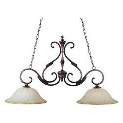 Joshua Marshal - Two Light Oil Rubbed Bronze Wilshire Glass Island Light - Two Light Oil Rubbed Bronze Wilshire Glass Island Light