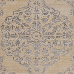 Jaipur Rugs - Hand-Knotted Tone-on-Tone Pattern Wool/ Art Silk Taupe/Gray Area Rug ( 5x8 ) - The Heritage collection is a beautiful casual hand knotted range of rugs with a soft wool ground and art silk motifs. Each piece is skillfully overdyed to create a vintage look and give surface interest. The rugs are uber soft with a sense of antiquity and luxury.