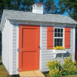 """8' x 10' Stony Brook Saltbox - This 8' X 10' saltbox is shown with 36"""" beaded 2 panel door and single vinyl opening window with screen. Beaded shutters are painted to match door. Upgraded Architectural roof shingles and 16"""" copper top cupola. Standard white craftsman painted trim, cedar shingled front wall and standard siding all stained Driftwood. Flower box included in price."""