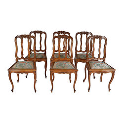 """Consigned 19th-C. French Dining Chairs, Set of 6 - Set of six matching chairs with upholstered seats. All hand-carved with shell crests, scrolled vertical slats, shaped aprons and elegant cabriole legs. All done in European oak. Upholstery in very good condition (not original fabric). Seat, 17""""H."""