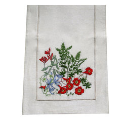 Golden Hill Studio - Honeysuckle & Vines Table Art Runner - Sweet, bright honeysuckle blossoms are tempered by green vines in this elegantly embroidered table runner. This handcrafted silk runner is so lovely, you'll want to use it every day.
