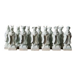 Marco Polo Imports - A Collection Of The Twelve Figurines - A collection of twelve animal figurines intricately sculpted from high quality porcelain with a radiant ivory finish.