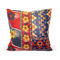 Acapillow - Floral Kantha Blanket Pillow - Vintage Kantha blanket pillow with hemp back and zipper closure.  Care:  Dry-clean only.  Handmade in Santa Monica, California.
