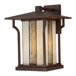 "Quoizel - Quoizel LNG8411CHB Langston Transitional Outdoor Wall Sconce - This Arts and Crafts outdoor collection ""wows"" with charming missioninspired details.  A rich chocolate bronze finish surrounds attractive white art glass and clear seedy water glass panels for a style all its own.  Langston incorporates a unique spin on classic mission design."