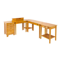 Winsome Wood - Winsome Wood Studio 5 Piece Home Office Set - 5 Piece Home Office Set belongs to Studio Collection by Winsome Wood Desk (1), Desk w/ Hutch (1), Corner Table (1), Filing Cabinet (1), Printer Table (1)