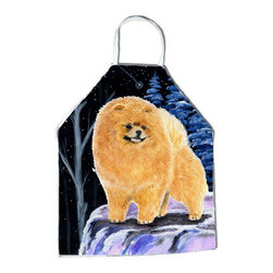 Caroline's Treasures - Starry Night Pomeranian Apron SS8396APRON - Apron, Bib Style, 27 in H x 31 in W; 100 percent  Ultra Spun Poly, White, braided nylon tie straps, sewn cloth neckband. These bib style aprons are not just for cooking - they are also great for cleaning, gardening, art projects, and other activities, too!