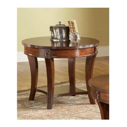 Bernards - Wellington Round End Table w Shelf in Cherry - 1 Shelf. Made of wood. 28 in. Dia. x 24 in. H